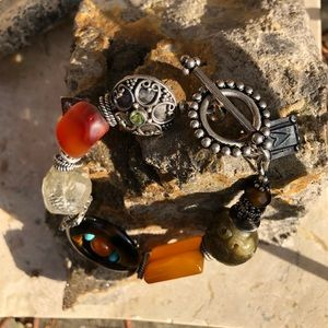Mixed stone and Bali silver bracelet